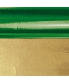 Kerst inpakfolie groen goud 80 cm
