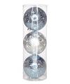 Kerst kerstballen blauw zilver sneeuwster 15 cm