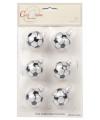 Kerst kerstballen met voetbalprint 6 stuks