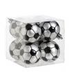 Kerst kerstballen met voetbalprint 8 stuks