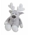 Kerst rendier knuffeltje 20 cm grijs