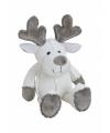 Kerst rendier knuffeltje 20 cm wit
