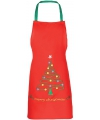 Kerst rood kerst schort voor kinderen