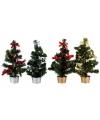 Kerstboom met decoratie rood zilver 30 cm