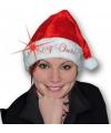 Kerstmuts merry christmas met licht