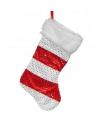 Kerstsok rood met wit 43 cm