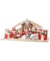 Kerststal met 11 figuren rood wit