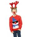 Kersttrui rood met sneeuwpop voor kinderen