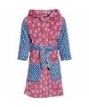 Kinder badjas roze blauw met bloemen