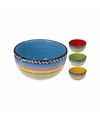 Kleurrijke aardewerk soepkom blauw