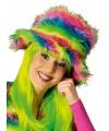 Kleurrijke neon pluche hoed