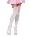 Kniekousen wit met roze strik