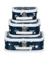 Koffertje donkerblauw ster 25 cm