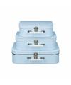 Koffertje licht blauw met witte stipjes 35 cm