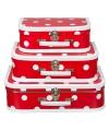 Koffertje rood polka dot 35 cm