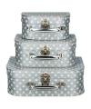 Koffertje zilver sterren 16 cm