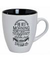 Koffiebeker wit met tekst morning coffee is the best