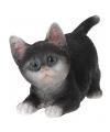 Kruipende katten beeldje zwart 18 cm
