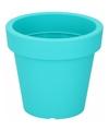 Kunststof bloempot turquoise 16 cm