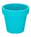Kunststof bloempot turquoise 19 cm