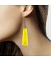 Kwastjes oorbellen neon geel