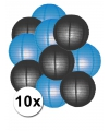 Lampionnen pakket blauw en zwart 10x