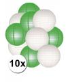 Lampionnen pakket groen en wit 10x