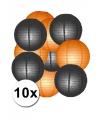 Lampionnen pakket oranje en zwart 10x