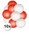Lampionnen pakket rood en wit 10x