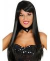 Lang zwart haar pruik