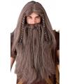 Lange bruine viking pruik met baard