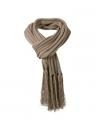 Lange gebreide sjaal met franjes bruin