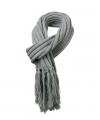 Lange gebreide sjaal met franjes grijs