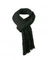 Lange gebreide sjaal met franjes zwart