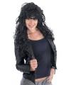 Lange rock chick pruik met zwart haar