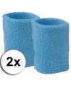Lichtblauwe pols zweetbandjes 2 stuks