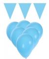 Lichtblauwe versiering 15 ballonnen en 2 vlaggenlijnen