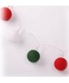 Lichtsnoer met balletjes rood wit en groen