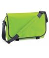 Lime groene messenger aktetas met schouderband