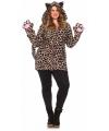 Luipaard jas met handschoenen grote maten