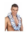 Luxe blauw witte hawaiikrans 50 cm