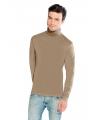 Luxe col t shirt lichtbruin voor heren