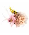 Luxe haarbloem met klem roze geel