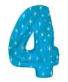 Mega folie ballon cijfer 4 blauw