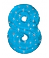 Mega folie ballon cijfer 8 blauw