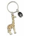 Metalen giraffe sleutelhanger 5 cm