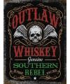 Metalen muurplaat outlaw whiskey 30 x 40 cm