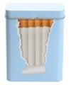 Metalen sigarettenblikje blauw