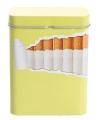 Metalen sigarettenblikje geel lime