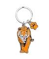 Metalen tijger sleutelhanger 5 cm